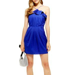 Topshop Blue Frill Satin Jacquard Dress